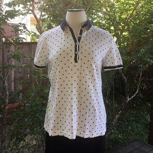 IZOD Polo M White Black Polka Dots Stretch Cotton